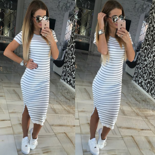 Casual Summer Women Dress Short Sleeve Round Neck Slim Fit Bodycon Dress Striped Side Split T Shirt Womens Dresses LJ3904R 2