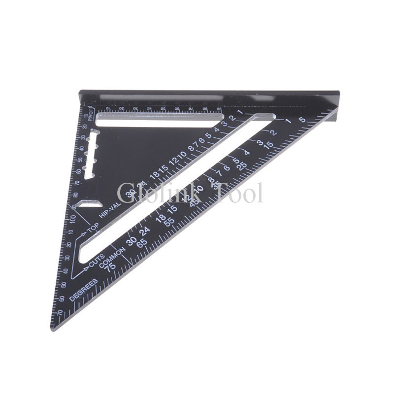 Triangle Ruler Measuring Tool Black Aluminum Alloy Square Layout Guide Construction Carpenter Woodworking 77