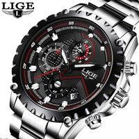 LIGE Brand Sport Watch Men Luxury Stainless Steel Quartz Military Waterproof Men Wrist Watch Clock Male