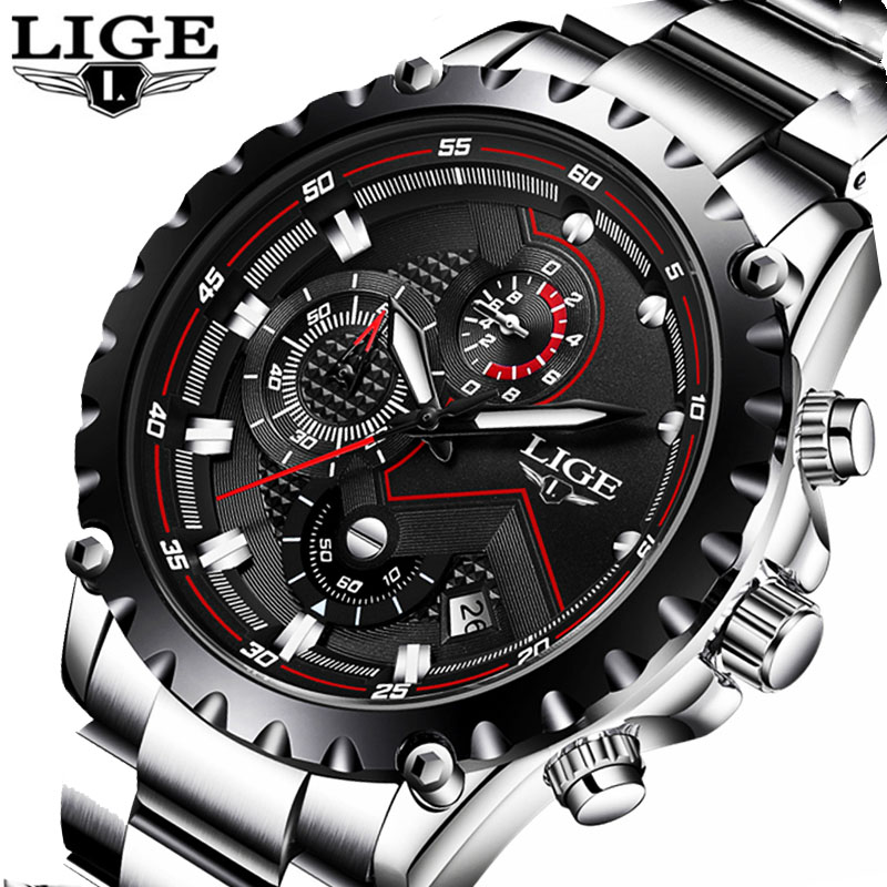 LIGE Brand Sport Watch Men Luxury Stainless Steel Quartz Military Waterproof Men Wrist Watch Clock Male relogio masculino Saat top brand luxury watch men full stainless steel military sport watches waterproof quartz clock man wrist watch relogio masculino