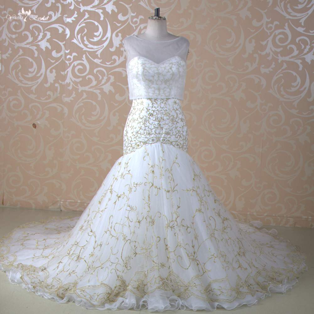 White And Gold Mermaid Wedding Dresses : Popular white gold wedding dresses buy cheap