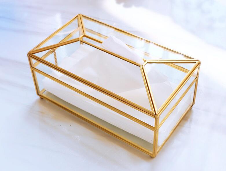 Золотая стеклянная зеркальная коробка для салфеток высокое качество стеклянная коробка для хранения косметики с зеркальной крышкой коробка-держатель для салфеток