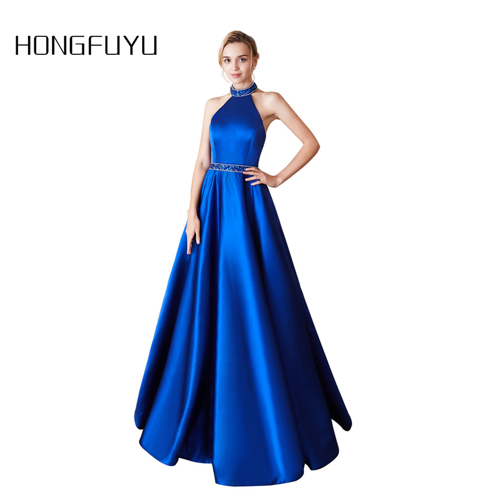 Vestidos De Fiesta Satin Sleeveless High Neck A Line Long   Prom     Dresses   2019 Open Back Sequined Floor Length   Prom     Dress   HFY71103