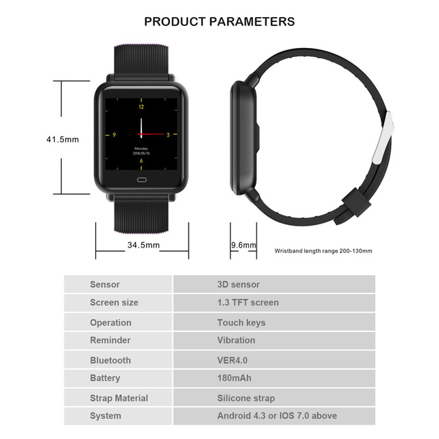 Smart Watch for Mens Q9 Blood Pressure Heart Rate Monitor Smartwatch IP67 Waterproof Sport Fitness Trakcer Men Women Smartwatch
