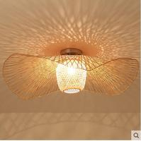 Bamboo Wicker Rattan Shade Cap Ceiling Light Fixture Creative Rustic Asian Nordic Country Japan Lamp Design Bedroom Study Room