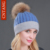 2016 Patchwork Inverno Gorros de Pele de Coelho Fêmea Chapéu de Lã Quente Malha Chapéus Genuine Natural Raccoon Fur Fashion Mulheres Pompon Tampas