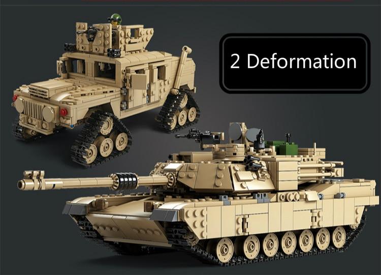 Kazi-Military-M1A2-Tank-1463pcs-Bricks-Abrams-Main-Battle-Tank-Building-Block-Sets-Models-2in1-Toys