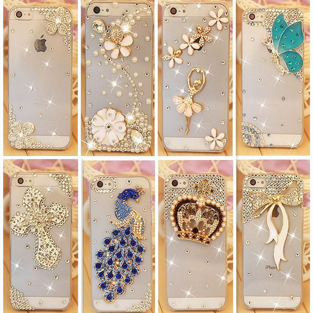 Горный хрусталь Case Cover For Apple Iphone 5 5S 4 4S se Iphone 6 6 S Plus 7 7 Плюс, кристалл Алмаза Жесткий Назад Мобильный телефон Case Cover