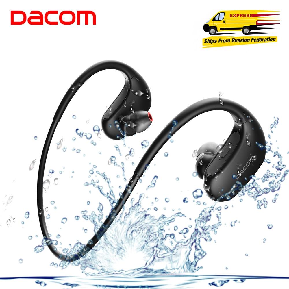 DACOM Wireless Headphone Sport Bluetooth Bass Headset Stereo Wireless Earphone with Microphone IPX7 Waterproof for Smartphones dacom athlete bluetooth 4 1 headset wireless headphone sports stereo earphone with microphone