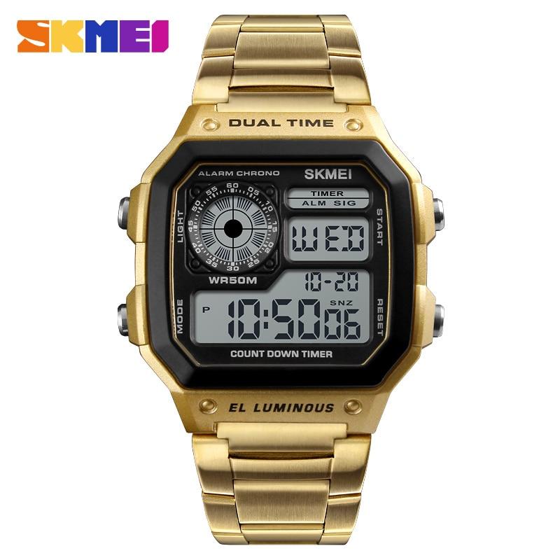66685e9e283 SKMEI Marca De Luxo de Ouro dos homens Relógios Em Aço Inoxidável Moda  Casual Homens Assistir Esportes Relógio Digital À Prova D  Água Homem  Relogio em ...