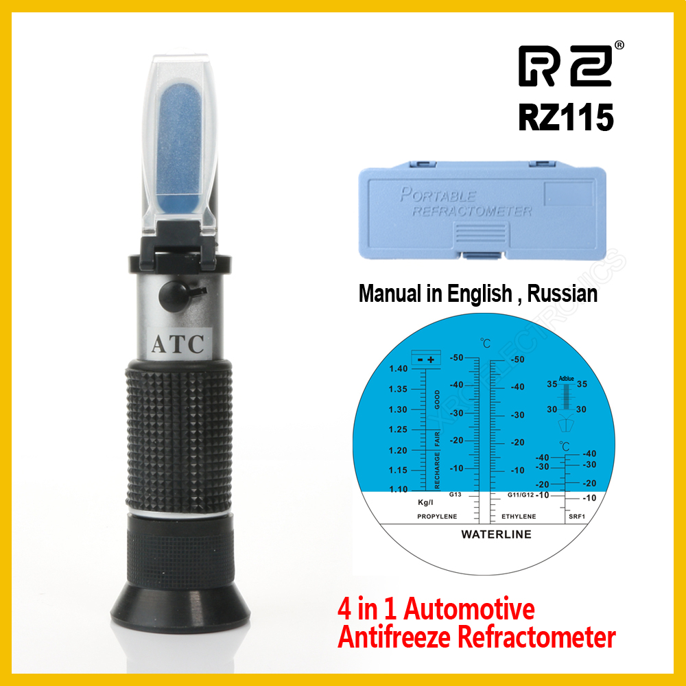 RZ Automotive Antifreez Refractometer Freezing point Urea Adblue Battery fluid Glass water tester meter ATC Tool RZ115 hand held optical 4 in 1 car adblue urea concentration testing refractometer battery fluid ethylene propylene glycol atc
