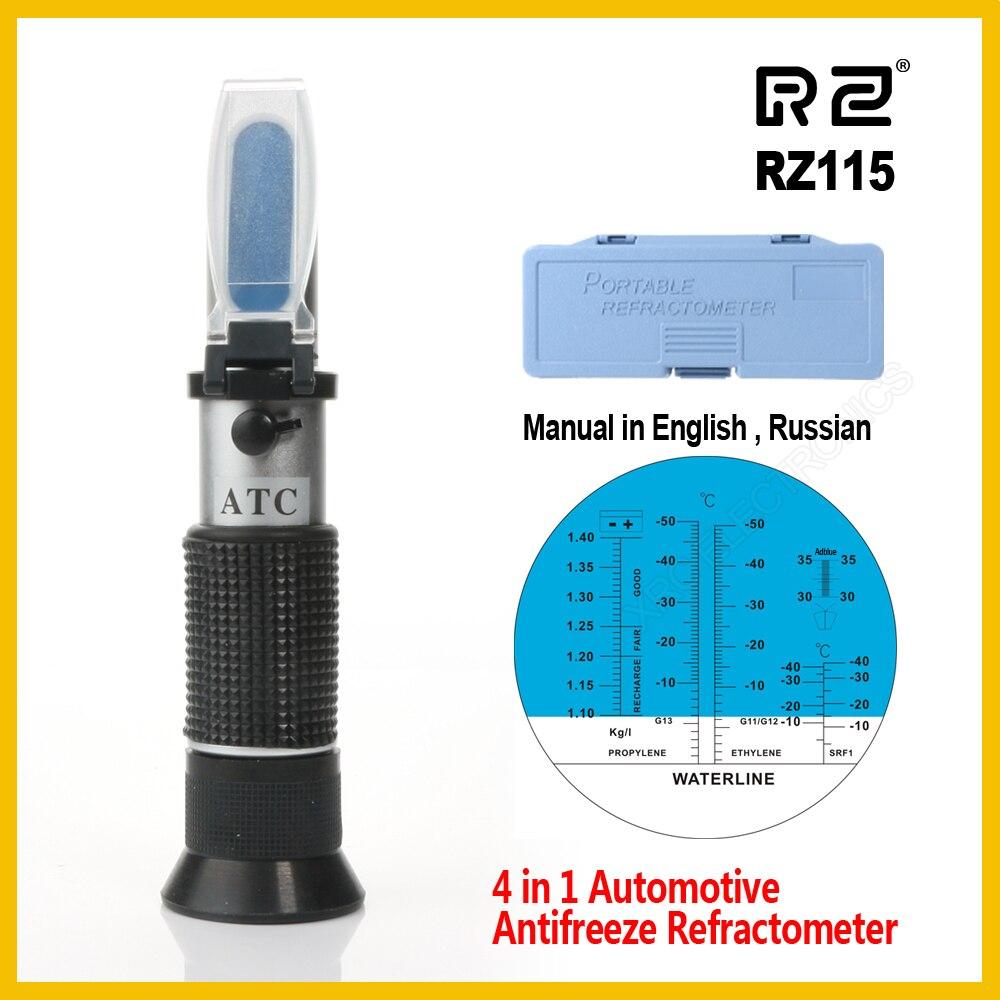 RZ automotriz Antifreez refractómetro punto de congelación de la Urea Adblue líquido de la batería de agua de vidrio de metro del probador ATC herramienta RZ115