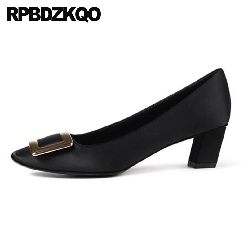 цены на 2018 medium heels metal ladies satin dress shoes italian square toe high black silk thick famous pumps size 4 34 luxury women в интернет-магазинах