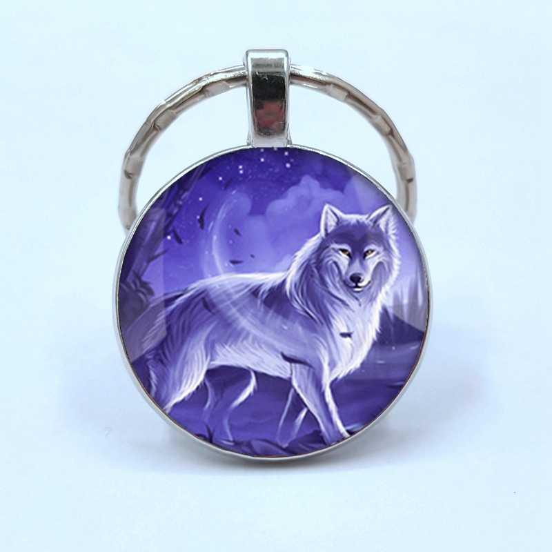 Está quente! Chaveiro lua cheia lua cheia lobo pingente lobo chaveiro chaveiro