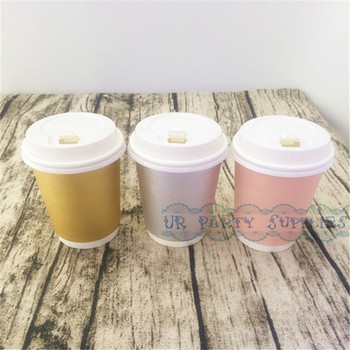 100pcs Thick Coffee Paper Cup Foil Gold/Pink/Silver Paper Cups With White Lids Hot Beverage Drink Coffee Milk Tea Cups