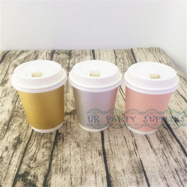 100pcs Thick Coffee Paper Cup Foil Gold/Pink/Silver Paper