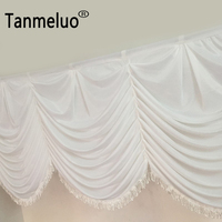Wholesale and retail 6m solid luxury white wedding backdrop curtain swags wave style wedding bridal backdrop swags with tassel