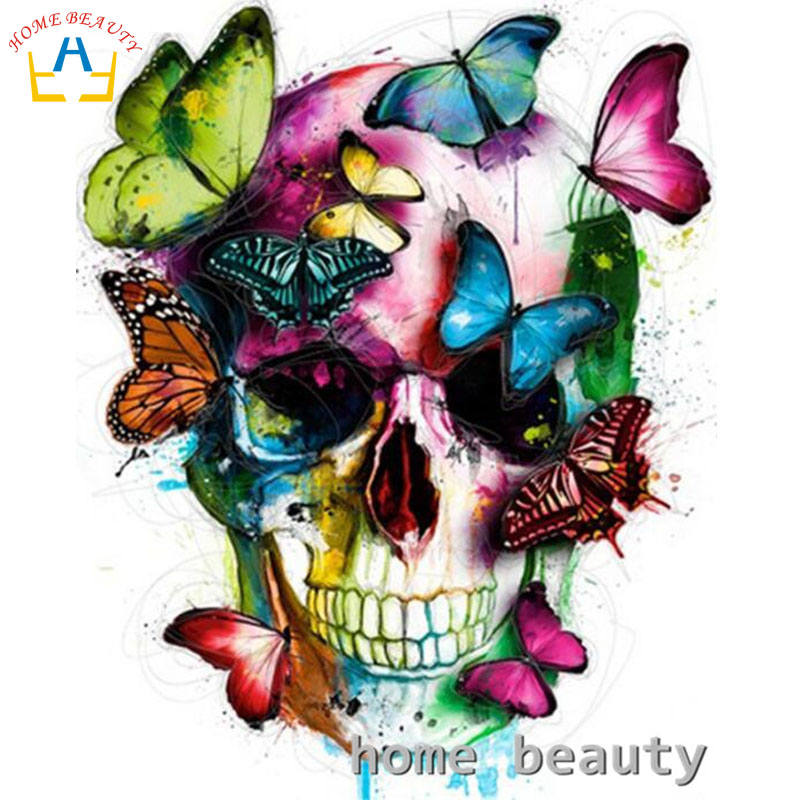 Diy pictures by numbers Modular canvas oil painting wall craft coloring by number butterfly skull hand painted drawing gift Y121 malen nach zahlen für erwachsene skull