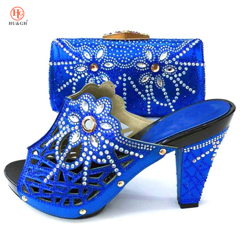 New Royal Blue African Women Party Italian Shoe with Matching Bag for Women Ladies Shoes and Bag Set Decorated with Rhinestone