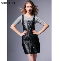 SHILO GO Leather Dress Autumn Fashion sheepskin genuine leather dress metal spaghetti strap front long zipper sleeveless dress