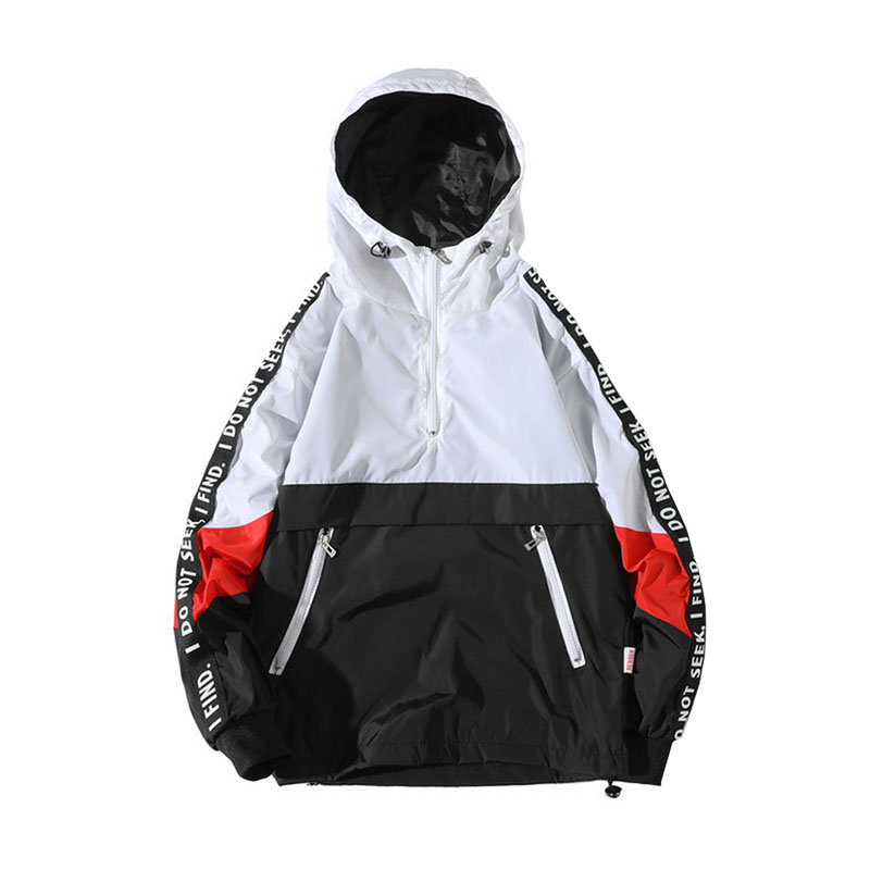 201c57267f Hooded Jackets Men Spring New Patchwork Color Block Pullover Jacket Fashion  Tracksuit Casual Coat Men Hip Hop Streetwear