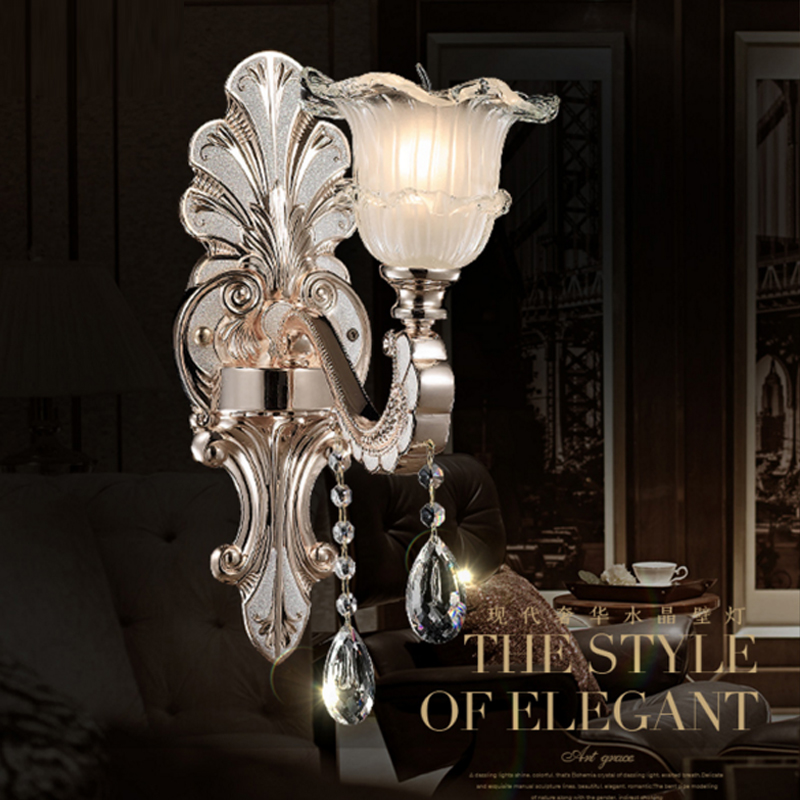 European crystal wall lamp bedroom bedside flower wall lamp living room TV background stair corridor wall sconce lanterns light european luxury crystal double head wall lamp bedroom living room tv background wall american retro wall lamp free shipping