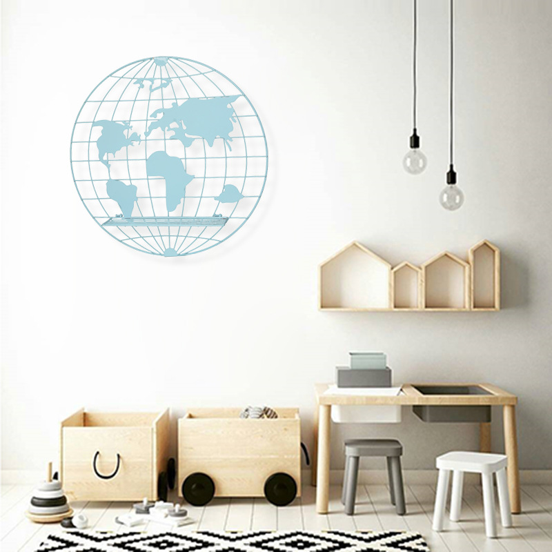 Image 2 - 2018 새로운 노르딕 스타일 스칸디 나비아 장식 금속 세계지도 선반 금속 보드 키즈 룸 장식 주최자 스토리지 홀더-에서풍경 & 벽 장식부터 홈 & 가든 의