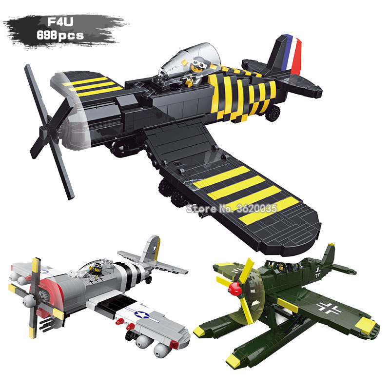 Military ww2 fighter classic model AR196 reconnaissance aircraft United States Air Force P47 F4U Pirate fighter Building Blocks special offer wings dragon 56277 air force kc 135d air refueling aircraft 1 400 commercial jetliners plane model hobby