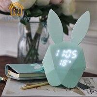 กระต่ายกระต่ายนาฬิกาปลุกดิจิตอลสีเขียว/ชมพูLEDไฟกลางคืนโต๊ะเครื่องวัดอุณหภูมินาฬิกาแขวน/...