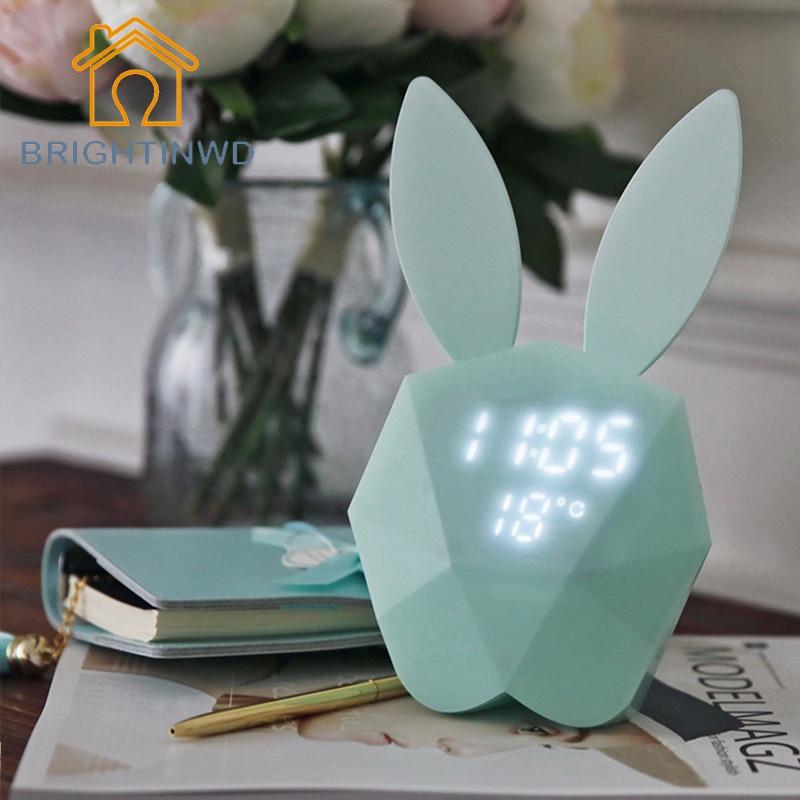 BRIGHTINWD Rabbit Digital Alarm Clock LED Night Light Thermometer Table Wall Clock/Built-in Lithium Battery Rechargeable Light lovely rabbit shape digital alarm clock