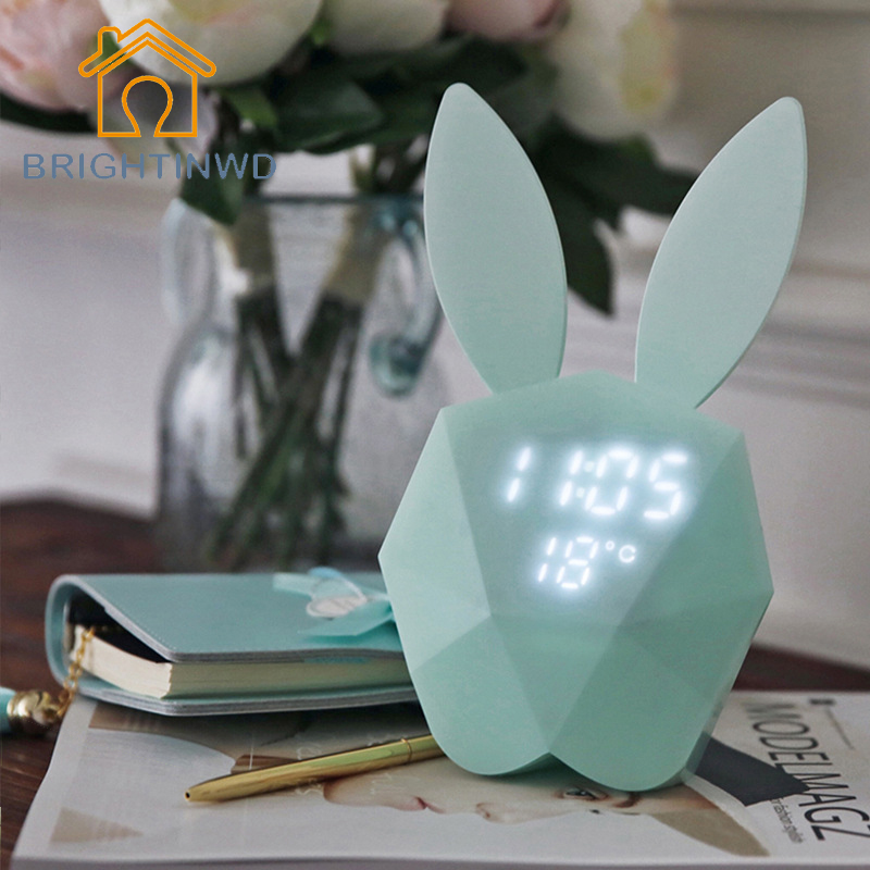 Rabbit Digital Alarm Clock LED Night Light Thermometer Table Wall Clock/Built in Lithium Battery Rechargeable Light BRIGHTINWD