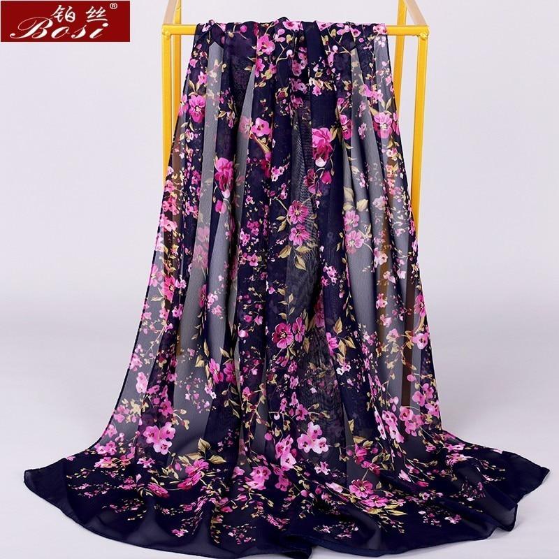 Chiffon Scarf Winter Shawl Schal Scarves Poncho Women Scarfs Ethnic Big Flower Hijab  Scarfs Luxury Ladies Retro Schal160*60 New