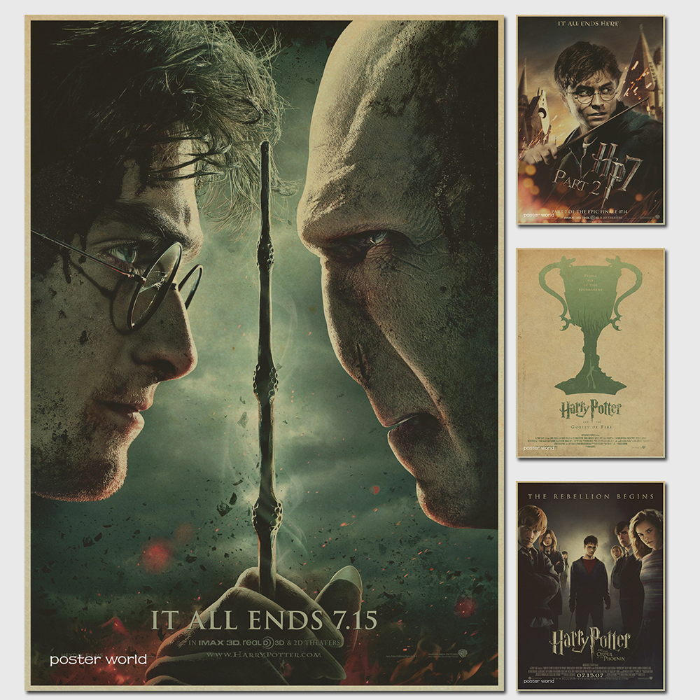 Harry Potter magic world poster series Vintage Retro Matte Kraft Paper Antique Poster Wall Sticker Home Decora