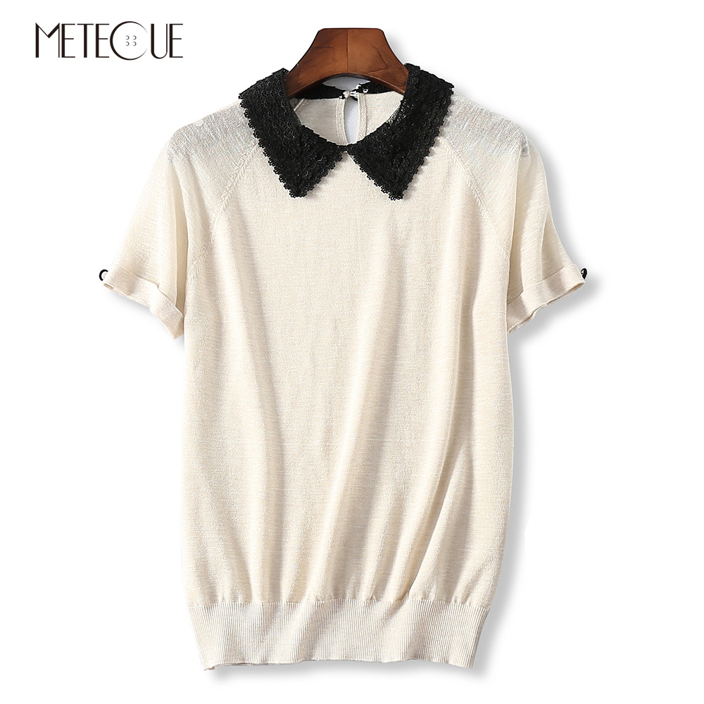 Embroidery Lace Turn-down Collar Patchwork Women Knitted T Shirt Casual Raglan Sleeve With Button T-shirt Women Top Summer 2018 raglan sleeve embroidery sheer top
