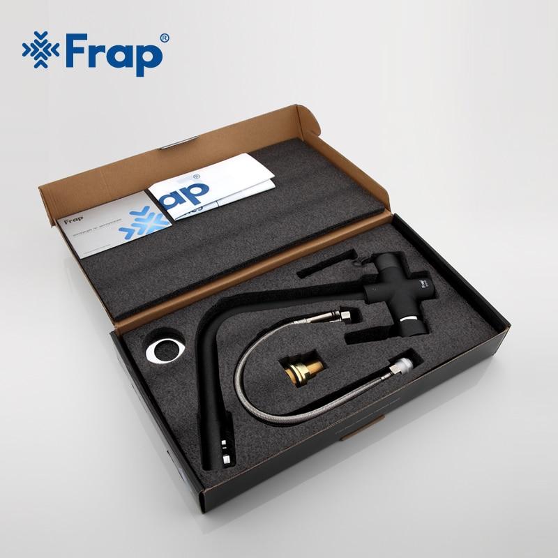 Frap новый черный смеситель для кухонной раковины с семью буквами, смеситель для холодной и горячей воды, кран для очистки воды с двойной ручк... - 5
