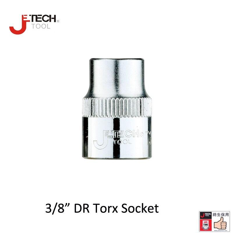 Jetech 1pc 9.53mm 3/8-inch drive torx star bit female E sockets E8 E10 E11 E12 E14 E16 E18 E20 Cr.v steel socket wrench