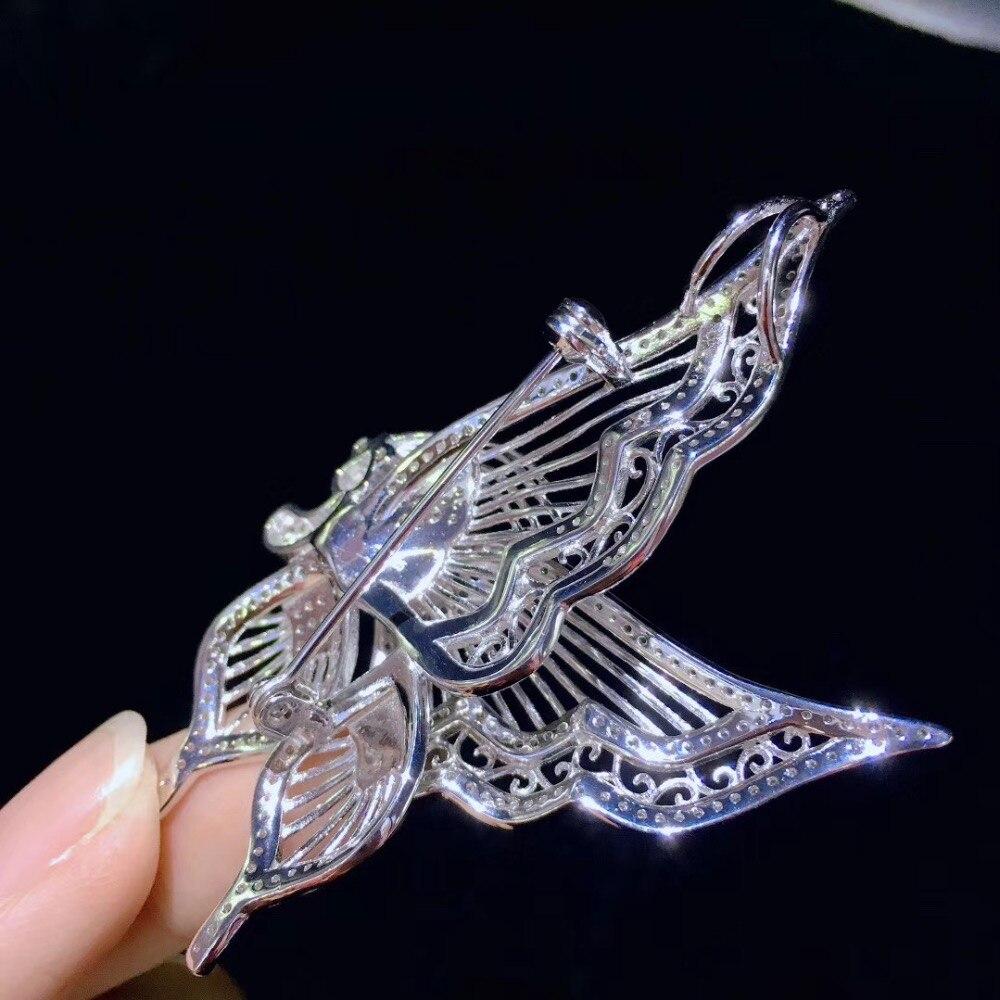 Broche papillon blanc insecte broches 925 argent sterling avec zircon cubique mode femmes bijoux 37*68 MM pendentif double usage - 6