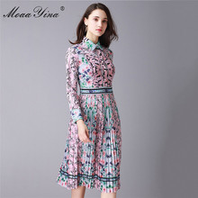 MoaaYina Fashion Designer Runway Dress Summer Women Turn-down Collar Long sleeve Print Casual Holiday Slim Elegant Pleated Dress long sleeved dress women 2019 spring summer new simple stripes turn down collar slim a line casual elegant dress midi s xl