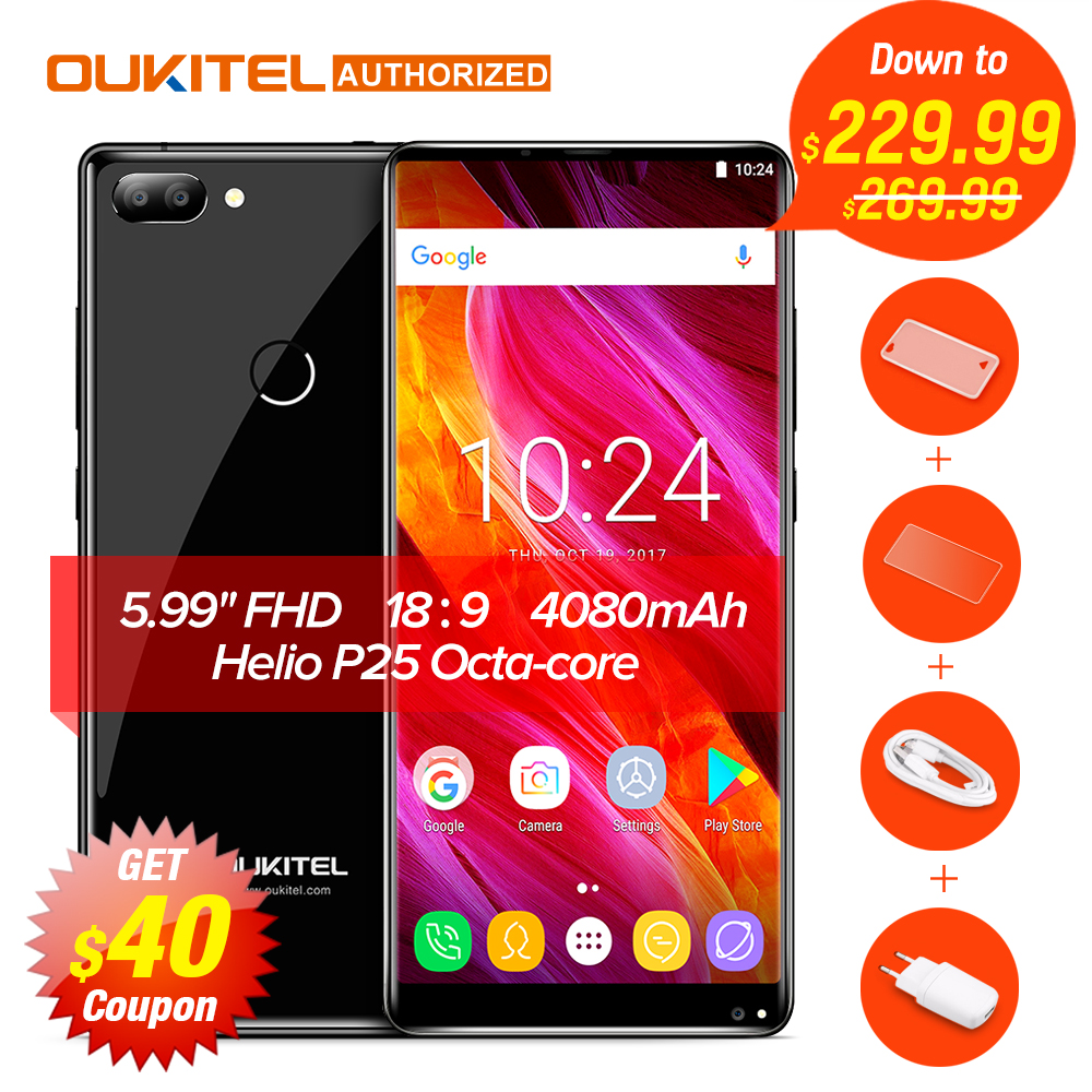 Helio Oukitel MIX 2 Android 7.0 4G Telefone Móvel P25 Octa-core 6G + 64G 5.99