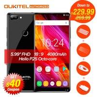 Oukitel MIX 2 Android 7.0 4G Mobile Téléphone Helio P25 Octa-core 6G + 64G 5.99