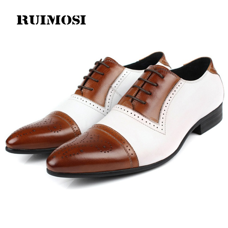 RUIMOSI Luxury Brand Man Semi Brogue Shoes Genuine Leather Cap Top Oxfords Vintage Pointed Toe Men's Handmade Male Flats FG17