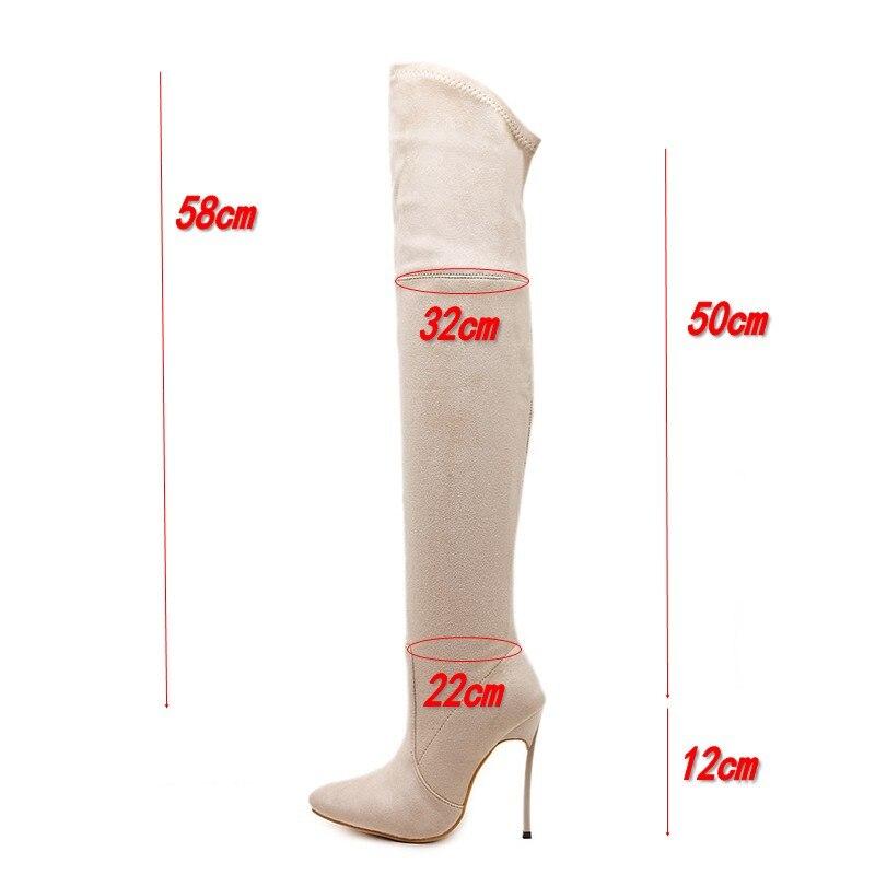 DongCiTaCi mujeres tacones altos botas Zapatos Mujer sobre la rodilla Otoño Invierno botas largas tacones delgados talla 35 42 negro, marrón, beige-in Botas sobre la rodilla from zapatos    2