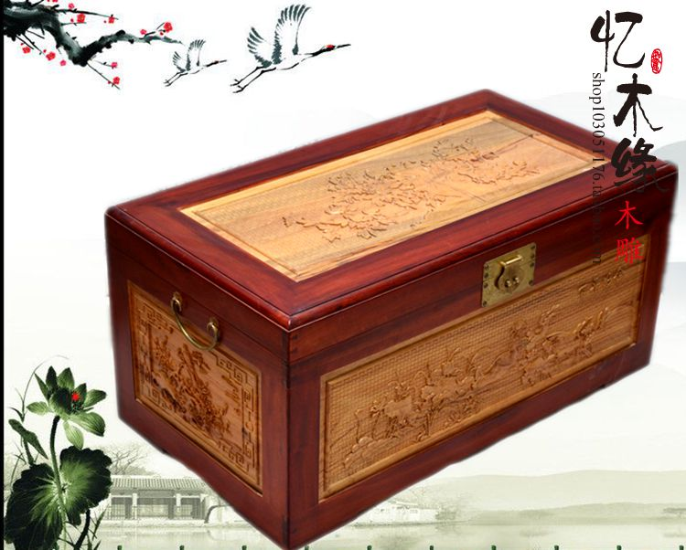 Camphor wood box wedding dowry box suitcase wood carved antique calligraphy and painting box insect a harmonious union lasting a camphor wood furniture carved wooden suitcase special offer and marriage dowry box storage box box manufacturers selling