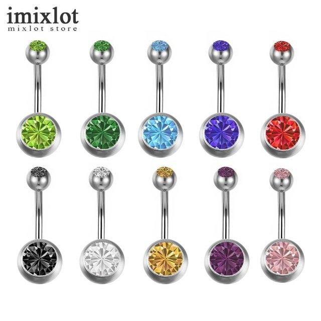 טבעות Crystal Imixlot 10 יח'\חבילה סקסי פירסינג תכשיטי גוף פלדה בר טבעת גוף בטן טבעות טבור פירסינג Pircing