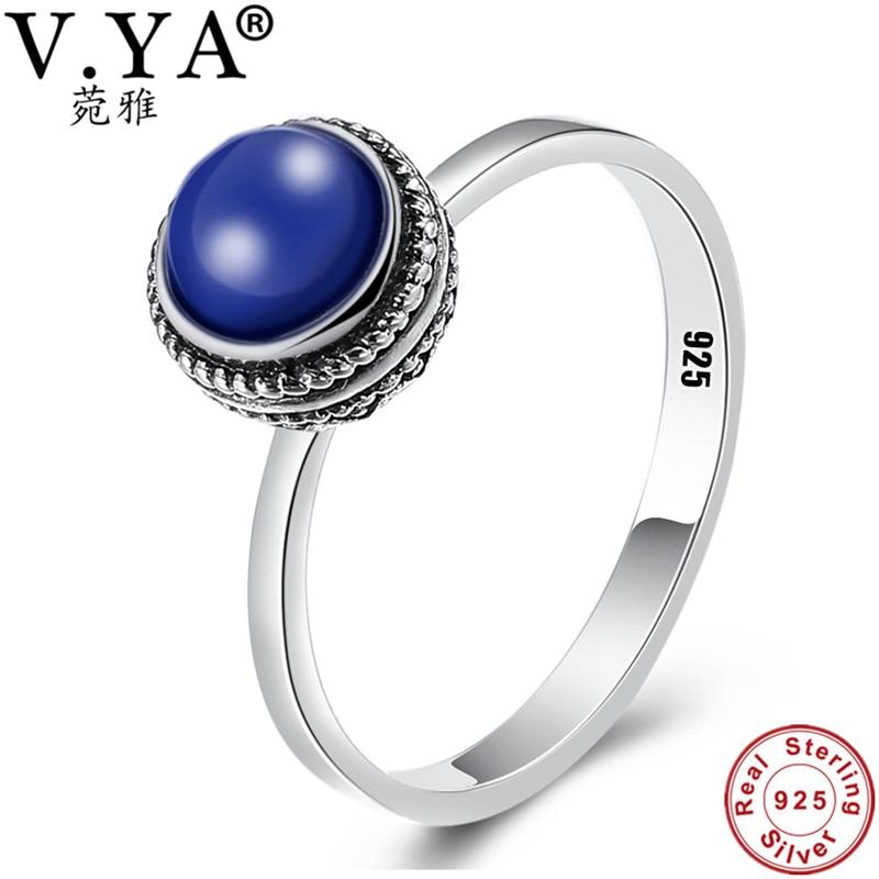 100% Réel Pur 925 Bague En Argent Lapis lazuli anneaux pour femmes Hommes Bijoux Vintage Conception Argent Bague WR20950