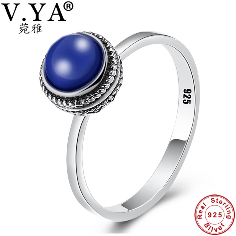 100% Real Pure 925 Sterling Silver Ring Lapis lazuli rings for women Men Jewelry Vintage Design Silver Finger Ring WR20950