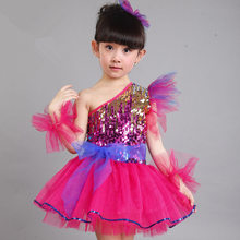 Girls Jazz Latin Ballet Dance Costume Kids Party Dress up Dancing Top Dress  Performances Stage Outfit Blue 3-14 Years vestidos 9009c3355c4f