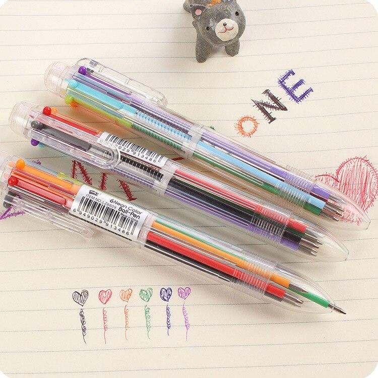 Jonvon Satone Creative Multicolored Ball Pen Cute Color Personality Oil Pen Cartoon Stationery 6 Color Pen School Supplies Stylo