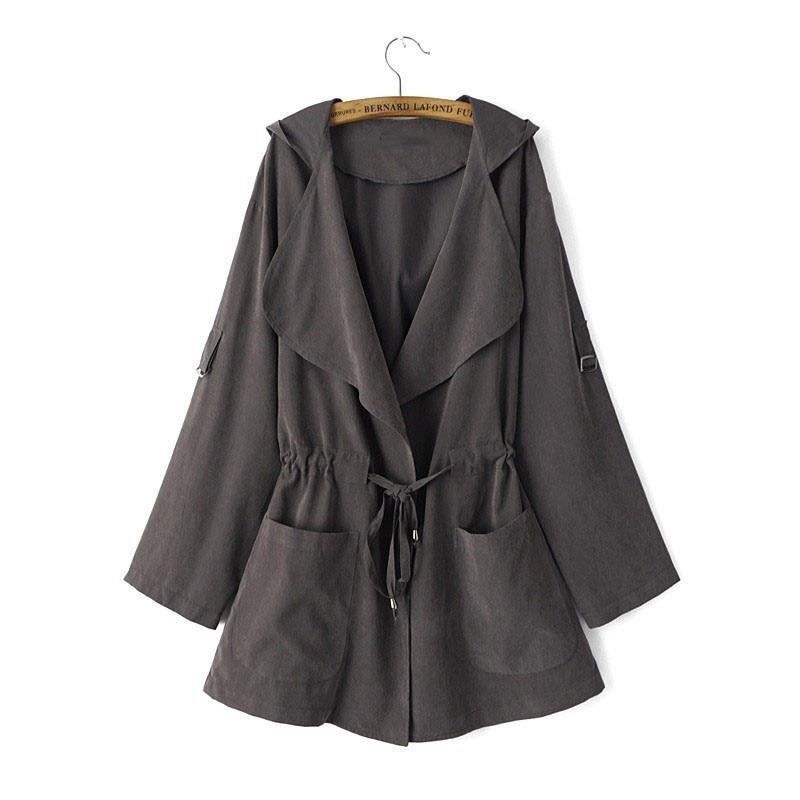 HTB1UwIVepcJL1JjSZFOq6AWlXXat New 2019 Women Jack Coat Autumn Long Sleeve Hooded Coat Jacket Casual Elastic Waist Pocket Kimono Female Loose Outwear