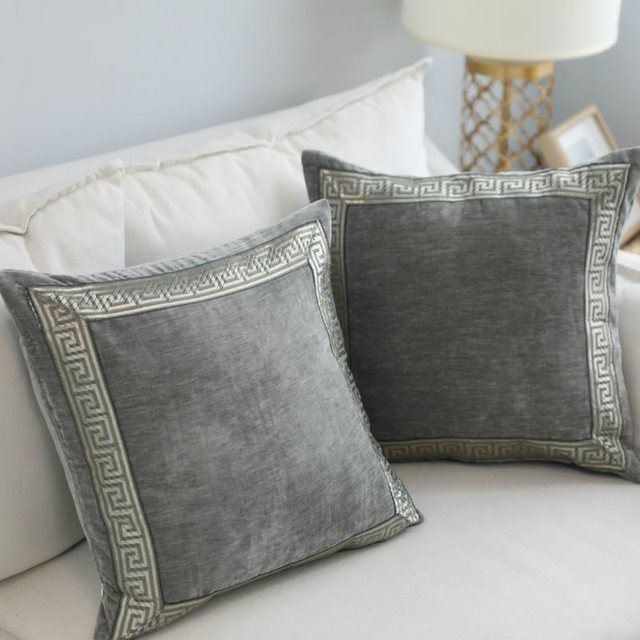 Luxurious Velour Embroidery Pillow Cover Blue Grey Beige Cushion Cover Home Decor  Pillow Decorative Throw Pillows Pillow Case